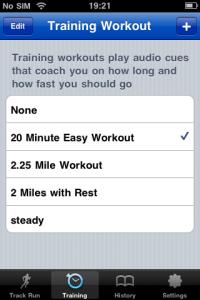 Choosing a workout in Runkeeper Pro
