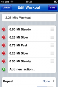 An example of setting up a workout in Runkeeper pro