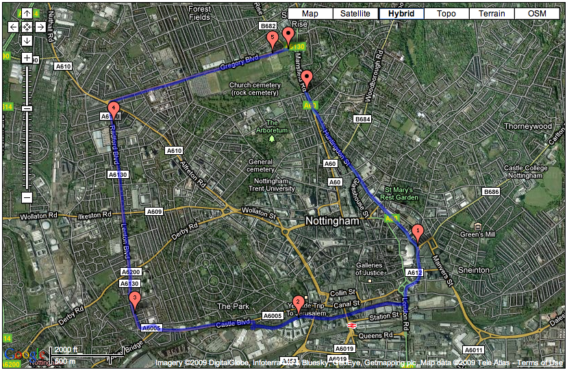Running Route 6, 5.1 miles, Nottingham, Forest Fields, Lenton, Canal