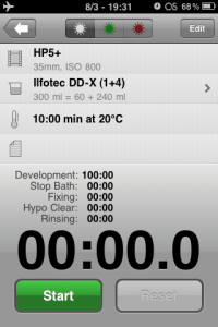 Development timer screen in Massive Dev Chart iPhone App