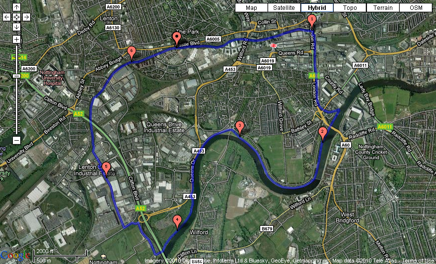 Nottingham Running Route 11 - River Trent and Nottingham Canal