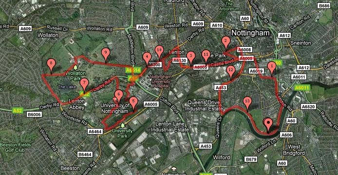 nottingham half marathon route 2010