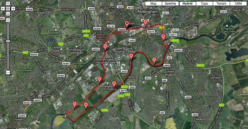 Nottingham Canal/River Trent running route