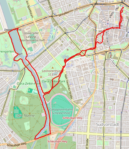 11km running route from Leipzig city centre